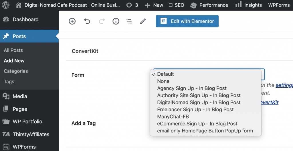 Convertkit forms wordpress admin